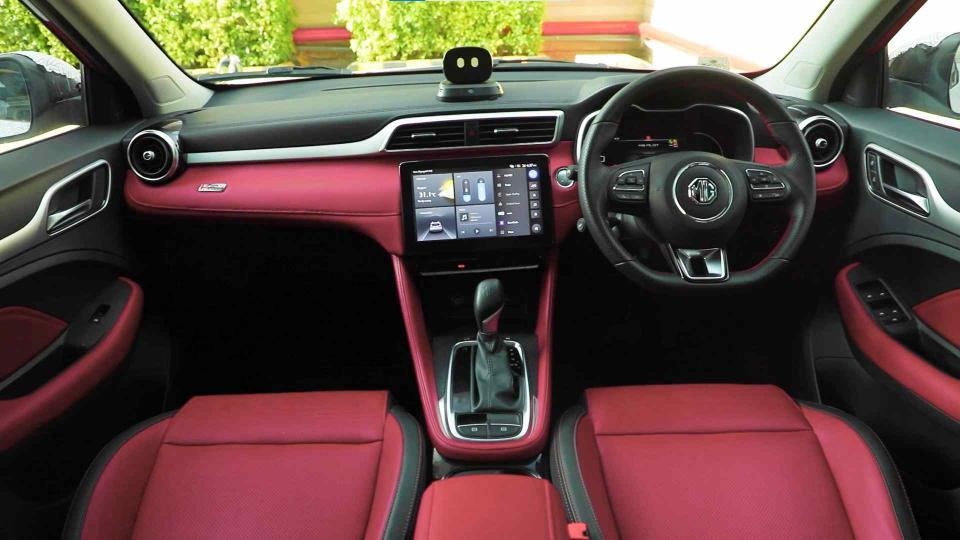 Black-and-maroon scheme will be an acquired taste; high-quality materials used on the dash. Image: MG