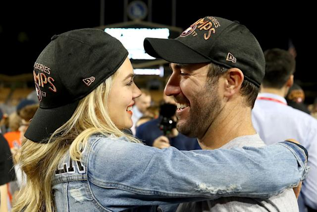 Upton and Verlander celebrate after the Astros defeated the Dodgers 5-1 in game seven of the 2017 World Series.