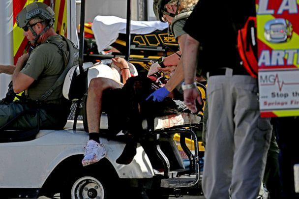 PHOTO: Medical personnel tend to a victim following a shooting at Marjory Stoneman Douglas High School in Parkland, Fla., on Feb. 14, 2018. (John McCall/South Florida Sun-Sentinel via AP, FILE)