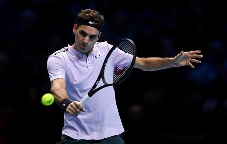 Tennis - ATP World Tour Finals - The O2 Arena, London, Britain - November 18, 2017 Switzerland's Roger Federer in action during his semi final match against Belgium's David Goffin Action Images via Reuters/Tony O'Brien
