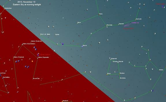 This star map (calculated for latitude 46 deg. north, time about 45 minutes before sunrise) for Nov. 10, 2013 shows the comet position of Comet C/2012 S1 (ISON). Image released Sept. 24, 2012.