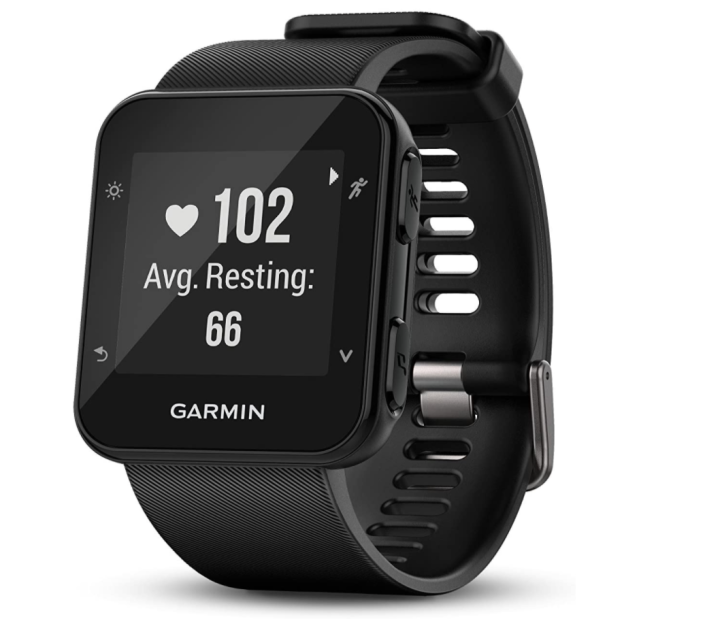 """<p><strong>Garmin</strong></p><p>amazon.com</p><p><strong>$124.66</strong></p><p><a href=""""https://www.amazon.com/dp/B01KPUHEHQ?tag=syn-yahoo-20&ascsubtag=%5Bartid%7C2139.g.37612148%5Bsrc%7Cyahoo-us"""" rel=""""nofollow noopener"""" target=""""_blank"""" data-ylk=""""slk:BUY IT HERE"""" class=""""link rapid-noclick-resp"""">BUY IT HERE</a></p><p>As an Amazon best-seller, the Garmin Forerunner 35 does it all for a relatively small price. From tracking your workouts and daily heart rate to receiving smartphone notifications, this device has all the essential features of competing smartwatches.</p>"""