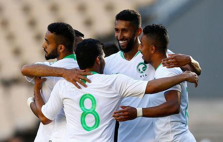 Soccer Football - International Friendly - Saudi Arabia v Greece - Estadio de La Cartuja, Seville, Spain - May 15, 2018 Saudi Arabia's Salem Al-Dawsari celebrates scoring their first goal with team mates REUTERS/Marcelo Del Pozo
