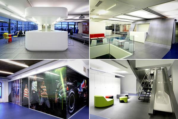 By its own count, Red Bull employs over 8,000 people in 164 countries, including the U.K., where the company has its London headquarters. Designed by Jump Studios in London, the unique-looking location takes up three floors, which employees can ascend by a staircase and descend by a slide.