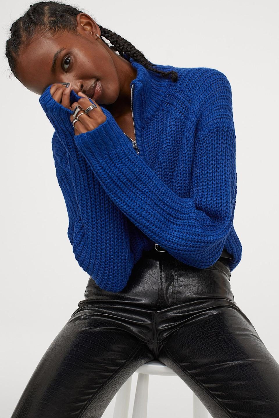 <p>This <span>H&M Knit Sweater</span> ($25) is the perfect shade of blue.</p>