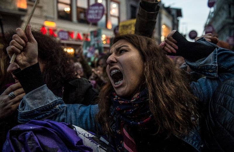 """Protesters reacted by yelling """"we will not obey"""" and """"we are not afraid"""" (AFP Photo/BULENT KILIC)"""
