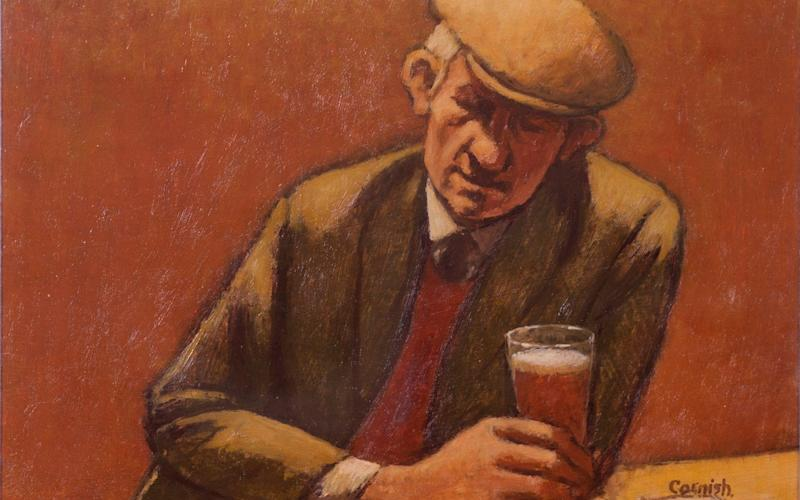 He is famed for drawing sketches of his town and paintings of men in the pub
