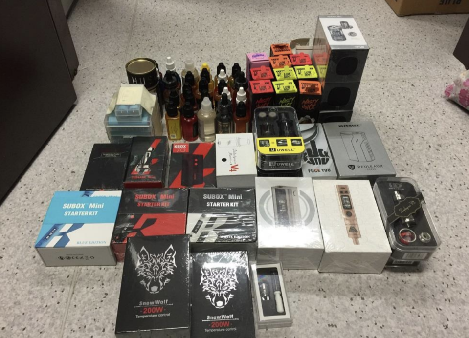 Photos of e-vaporisers and components seized. (Photo: HSA)