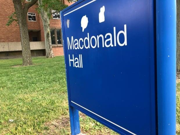 The former Macdonald hall is one of three residence buildings on campus. All of them are named after Canadian Prime Ministers.  (Jacob Barker/CBC - image credit)