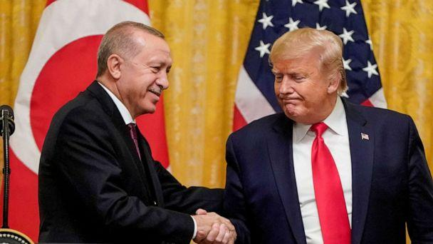 FILE PHOTO: U.S. President Donald Trump greets Turkey's President Tayyip Erdogan during a joint news conference at the White House in Washington, U.S., November 13, 2019. REUTERS/Joshua Roberts/File Photo (Joshua Roberts/Reuters)