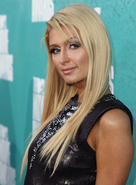 Paris Hilton arrives at the MTV Movie Awards on Sunday, June 3, 2012 in Los Angeles. (Photo by Matt Sayles/Invision/AP)