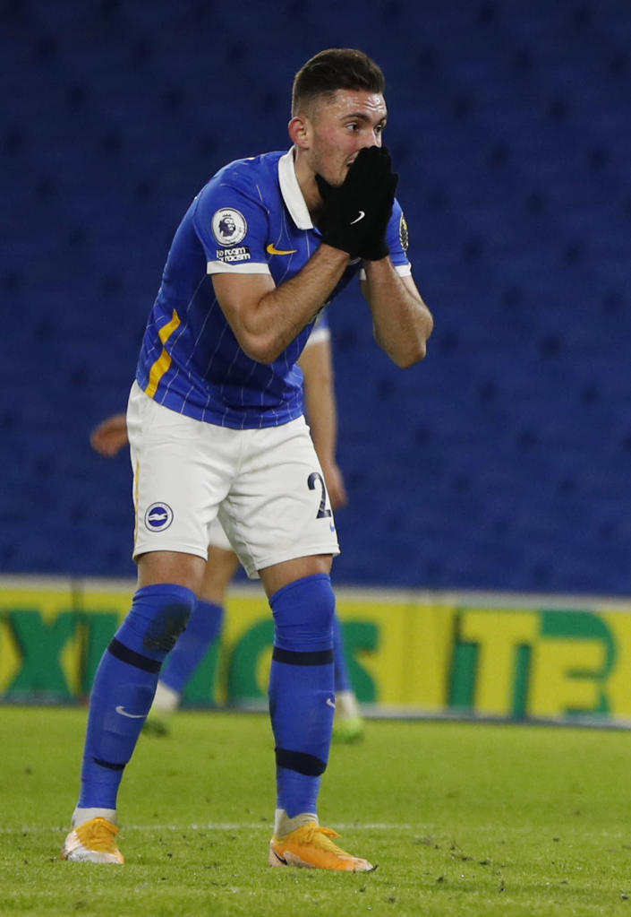 Brighton's Andi Zeqiri reacts after a miss during the English Premier League soccer match between Brighton and Wolverhampton Wanderers at the Amex stadium in Brighton, England, Saturday, Jan. 2, 2021. (John Sibley/Pool via AP)