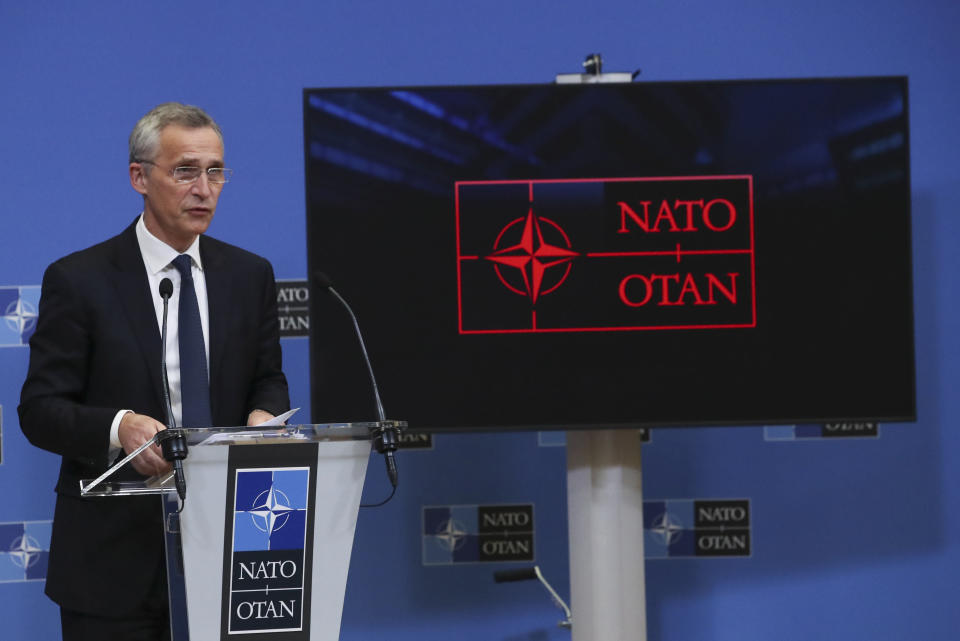 NATO Secretary General Jens Stoltenberg speaks during a media conference after a meeting of NATO foreign ministers at NATO headquarters in Brussels, Tuesday, March 23, 2021. (Yves Herman, Pool via AP)