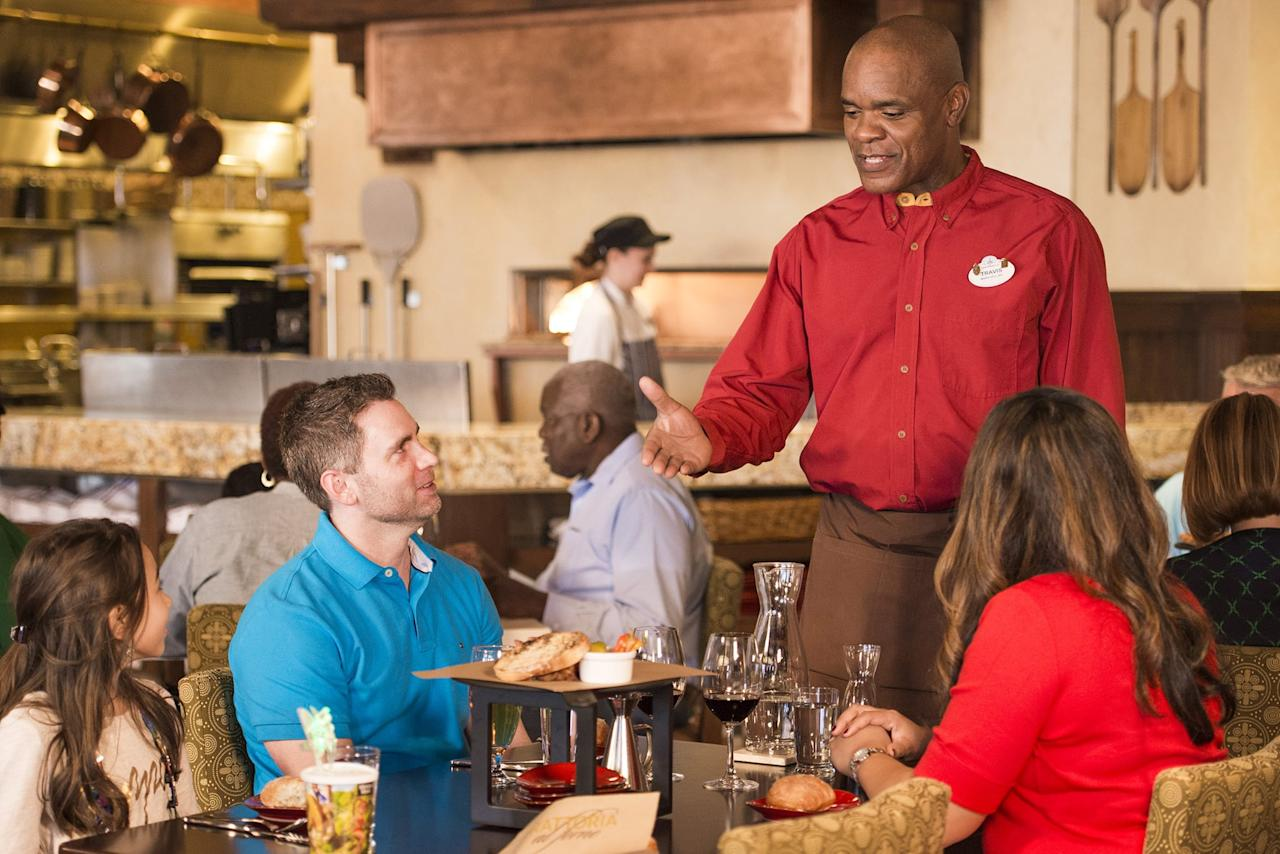 """<p>If you're looking for something a step up from the typical Disney breakfast buffet, but still want to rub shoulders with a few of your favorite characters, you'll want to book a table for the Bon Voyage Breakfast at <a href=""""https://disneyworld.disney.go.com/dining/boardwalk/trattoria-al-forno/"""" target=""""_blank"""" class=""""ga-track"""" data-ga-category=""""Related"""" data-ga-label=""""https://disneyworld.disney.go.com/dining/boardwalk/trattoria-al-forno/"""" data-ga-action=""""In-Line Links"""">Trattoria al Forno</a>. This table service restaurant in Disney's BoardWalk area serves breakfast daily until 12:05 p.m., and you can meet famous couples from <strong>The Little Mermaid</strong> and <strong>Tangled</strong> while you dine. Your table will even receive a tasty assortment of pastries served in Rapunzel's weapon of choice – a frying pan.</p>"""
