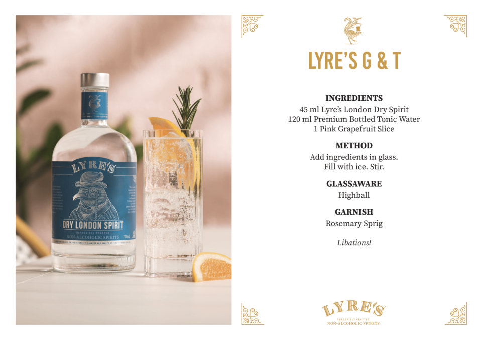 A non-alcoholic version of the G&T. Source: Supplied/Lyre's