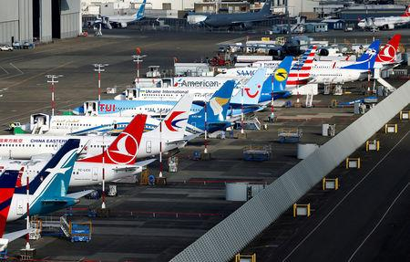 An aerial photo shows several Boeing 737 MAX airplanes grounded at Boeing Field in Seattle, Washington, U.S. March 21, 2019.  REUTERS/Lindsey Wasson/Files