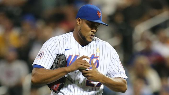 Sep 14, 2021; New York City, New York, USA; New York Mets relief pitcher Jeurys Familia (27) reacts during the eighth inning against the St. Louis Cardinals at Citi Field.