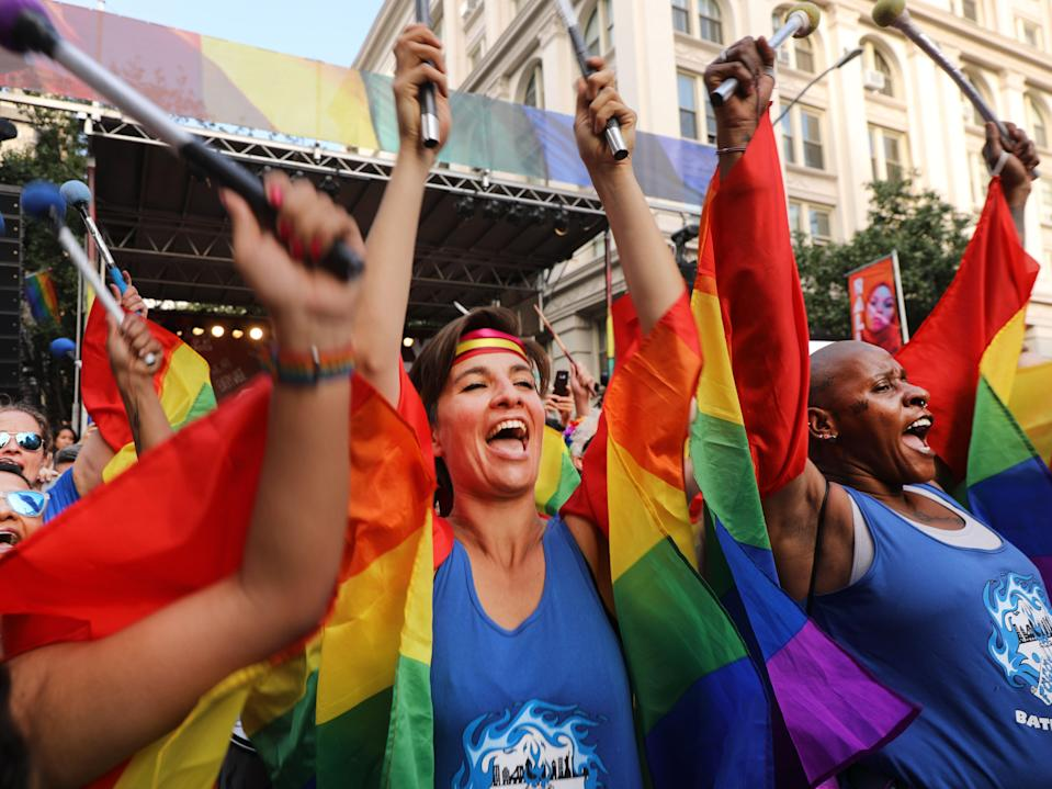 <p>Drummers join revelers as they gather in front of the Stonewall Inn to listen to speakers on June 28, 2019 in New York City. </p> (Getty Images)