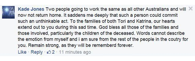 One of the messages of support left on a Facebook tribute page for Tori Johnson. Photo: Facebook.