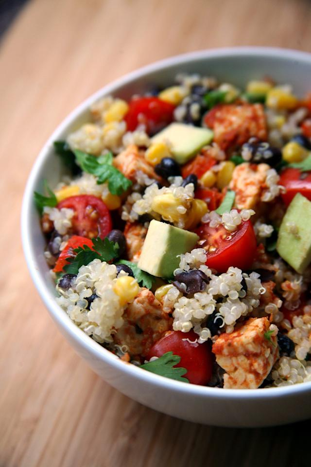 "<p>If you've never tried tempeh, now's a great time! It's easy to cook and keeps well, especially in this delicious and colorful quinoa salad. Eat warm or cold and add the diced avocado right before you serve.</p> <p><strong>Get the recipe:</strong> <a href=""https://www.popsugar.com/fitness/Mexican-Tempeh-Quinoa-Salad-35360978"" class=""ga-track"" data-ga-category=""Related"" data-ga-label=""http://www.popsugar.com/fitness/Mexican-Tempeh-Quinoa-Salad-35360978"" data-ga-action=""In-Line Links"">Mexican tempeh salad</a></p>"