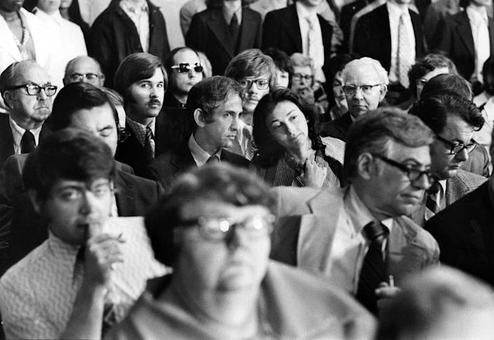 Daniel Ellsberg and Patricia Marx, his wife, center, at the Watergate hearings in Washington in 1973. (Mike Lien/The New York Times)