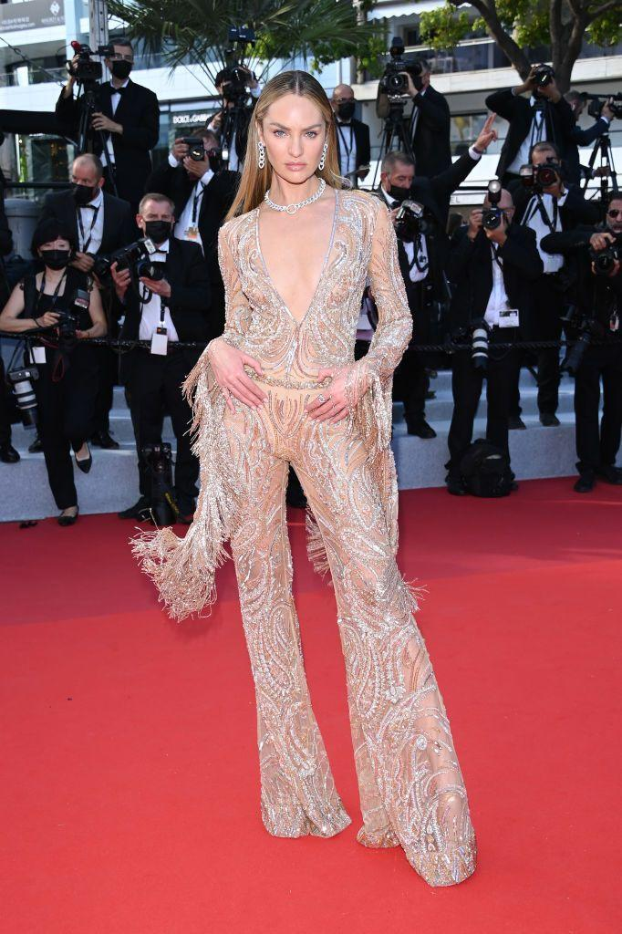 <p>Swanepoel stepped into a 'naked' jumpsuit by Etro.</p>