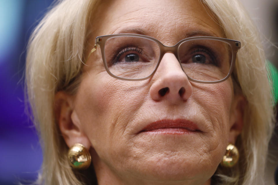 """U.S. Education Secretary Betsy DeVos testifies before the House Education Committee on """"Examining the Policies and Priorities of the U.S. Department of Education"""" on Capitol Hill in Washington, U.S., May 22, 2018. REUTERS/Leah Millis"""