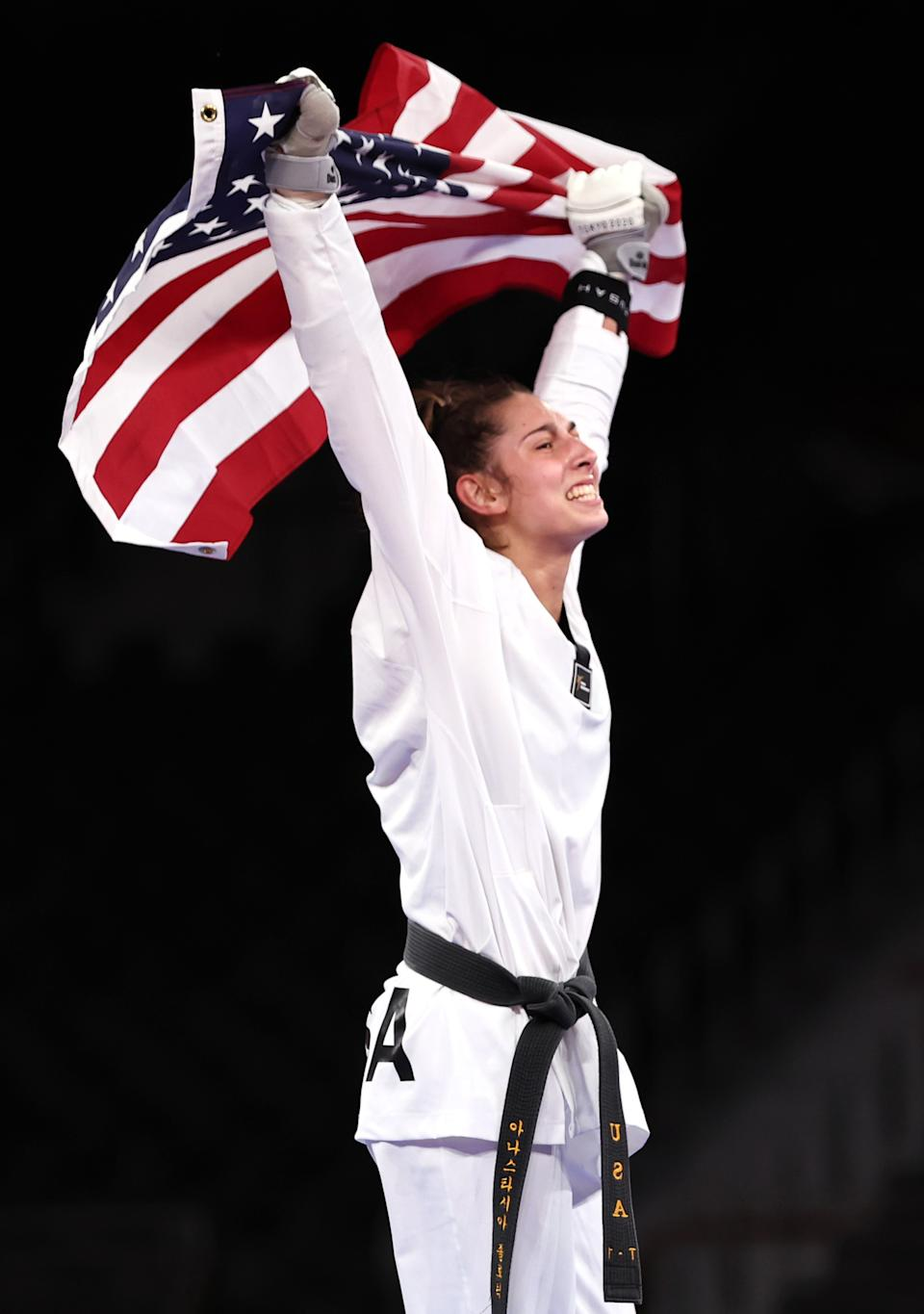 <p>CHIBA, JAPAN - JULY 25: Anastasija Zolotic of Team United States celebrates after defeating Tatiana Minina of Team ROC during the Women's -57kg Taekwondo Gold Medal contest on day two of the Tokyo 2020 Olympic Games at Makuhari Messe Hall on July 25, 2021 in Chiba, Japan. (Photo by Maja Hitij/Getty Images)</p>