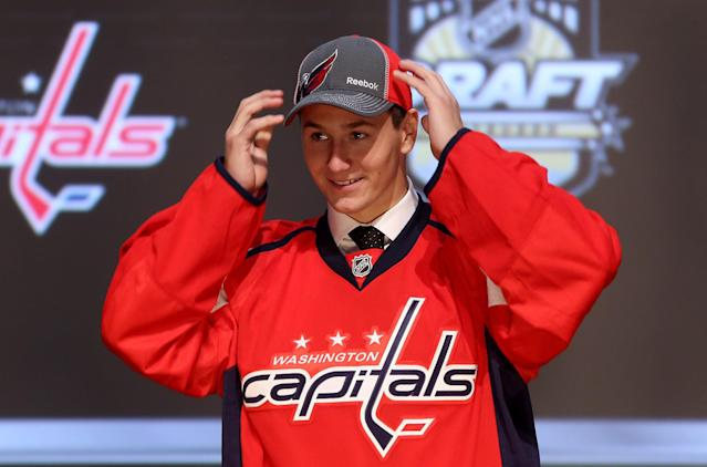 PITTSBURGH, PA - JUNE 22: Filip Forsberg, 11th overall pick by the Washington Capitals, poses on stage during Round One of the 2012 NHL Entry Draft at Consol Energy Center on June 22, 2012 in Pittsburgh, Pennsylvania. (Photo by Bruce Bennett/Getty Images)