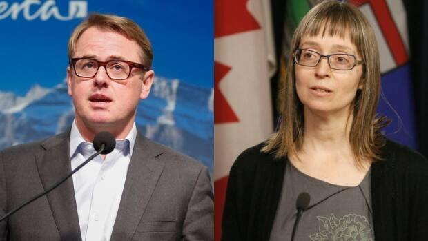 Alberta Health Minister Tyler Shandro and Alberta Chief Medical Officer of Health Dr. Deena Hinshaw updated the province about COVID-19 on Tuesday afternoon. (Left: Jeff McIntosh/The Canadian Press. Right: Art Raham/CBC - image credit)