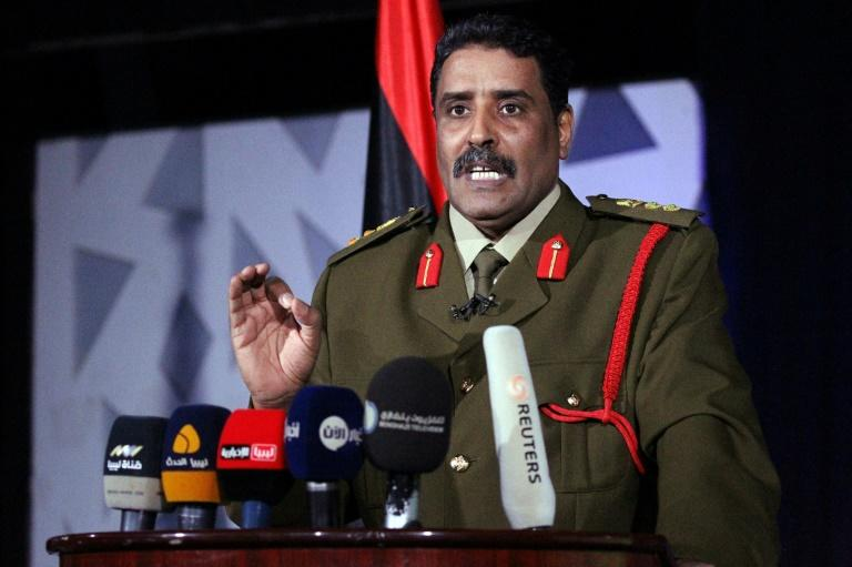 Ahmed al-Mesmari, a spokesman of Libyan strongman Khalifa Haftar's forces, announces the recapture of two key installations, at a press conference in Benghazi on March 14, 2017