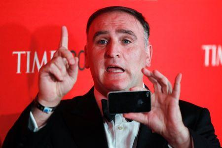 Chef Jose Andres arrives to be honored at the Time 100 Gala in New York