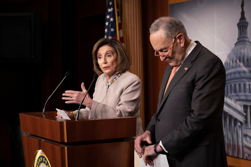House Speaker Nancy Pelosi (D-Calif.) and Senate Minority Leader Chuck Schumer (D-N.Y.) are seeking additional funding for their priorities on top of the $250 billion sought by Republicans for the so-called Paycheck Protection Program. (Photo: Tasos Katopodis via Getty Images)
