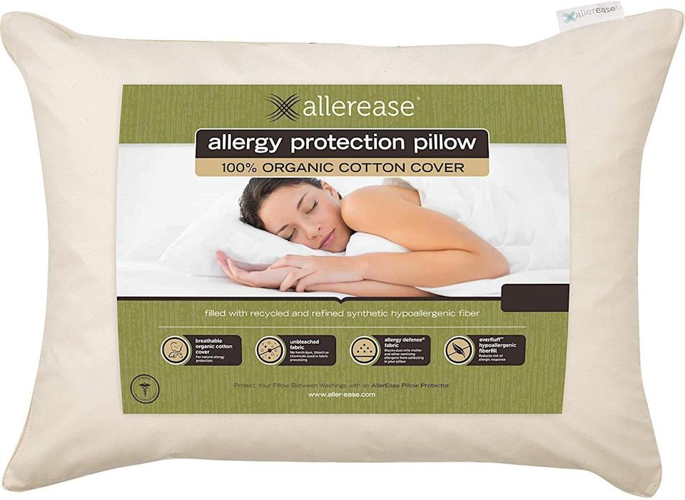 """<p><strong>Aller-Ease</strong></p><p>amazon.com</p><p><strong>$15.97</strong></p><p><a href=""""https://www.amazon.com/Aller-Ease-38372ATC-Pillow-Standard-Queen/dp/B00IZCOEY?tag=syn-yahoo-20&ascsubtag=%5Bartid%7C2140.g.28691781%5Bsrc%7Cyahoo-us"""" rel=""""nofollow noopener"""" target=""""_blank"""" data-ylk=""""slk:Shop Now"""" class=""""link rapid-noclick-resp"""">Shop Now</a></p><p>If your down-alternative pillow gets lumpy and weird after washing, try the Aller-Ease brand—they're made with a polyester/cotton blend that promises to bounce right back to fluffy form.</p>"""