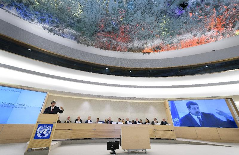 Venezuela's President Nicolas Maduro addresses the UN human rights council in Geneva on November 12, 2015 (AFP Photo/Fabrice Coffrini)