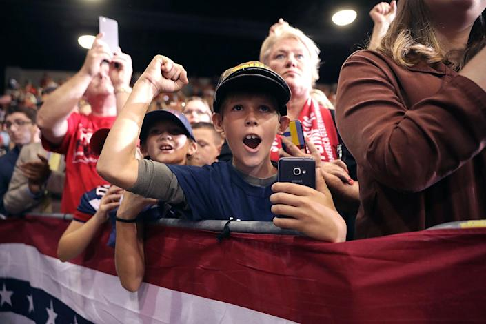 <p>Children cheer for Republican presidential nominee Donald Trump during a campaign rally in the Robarts Arena at the Sarasota Fairgrounds on Nov. 7, 2016 in Sarasota, Fla. (Photo: Chip Somodevilla/Getty Images) </p>