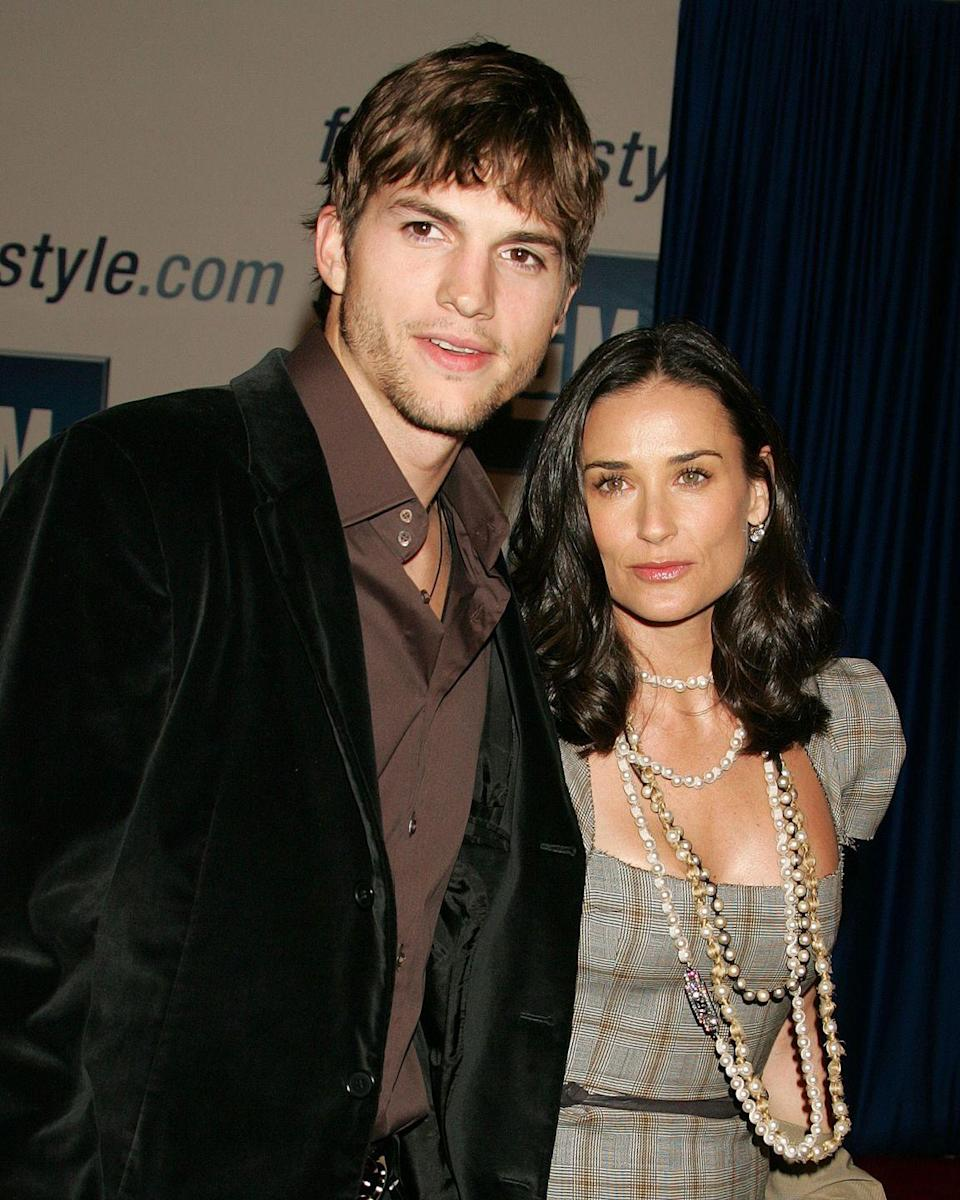 """<p>Ashton Kutcher and Demi Moore married in <a href=""""http://www.eonline.com/photos/3833/demi-moore-ashton-kutcher-romance-recap/143825"""" rel=""""nofollow noopener"""" target=""""_blank"""" data-ylk=""""slk:a super secret ceremony on Sept. 24, 2005"""" class=""""link rapid-noclick-resp"""">a super secret ceremony on Sept. 24, 2005</a>. The former couple took their vows in Beverly Hills in front of 100 guests, including Moore's former husband Bruce Willis. The pair eventually split, with <a href=""""http://people.com/celebrity/demi-moore-and-ashton-kutcher-finalizing-divorce/"""" rel=""""nofollow noopener"""" target=""""_blank"""" data-ylk=""""slk:Kutcher filing for divorce in 2012"""" class=""""link rapid-noclick-resp"""">Kutcher filing for divorce in 2012</a>. </p>"""