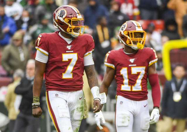 Washington wide receiver Terry McLaurin, right, was quarterback Dwayne Haskins' only reliable receiving target. (Photo by Jonathan Newton/The Washington Post via Getty Images)