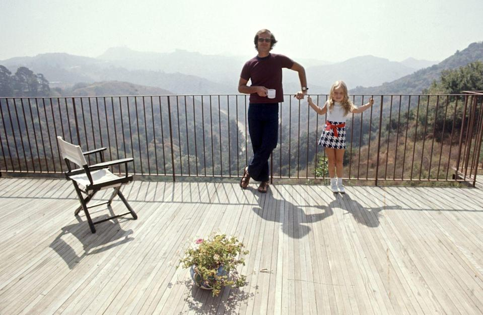 <p>Jack Nicholson and his daughter Jennifer stand on the deck of their Franklin Canyon home in L.A. in 1969.</p>