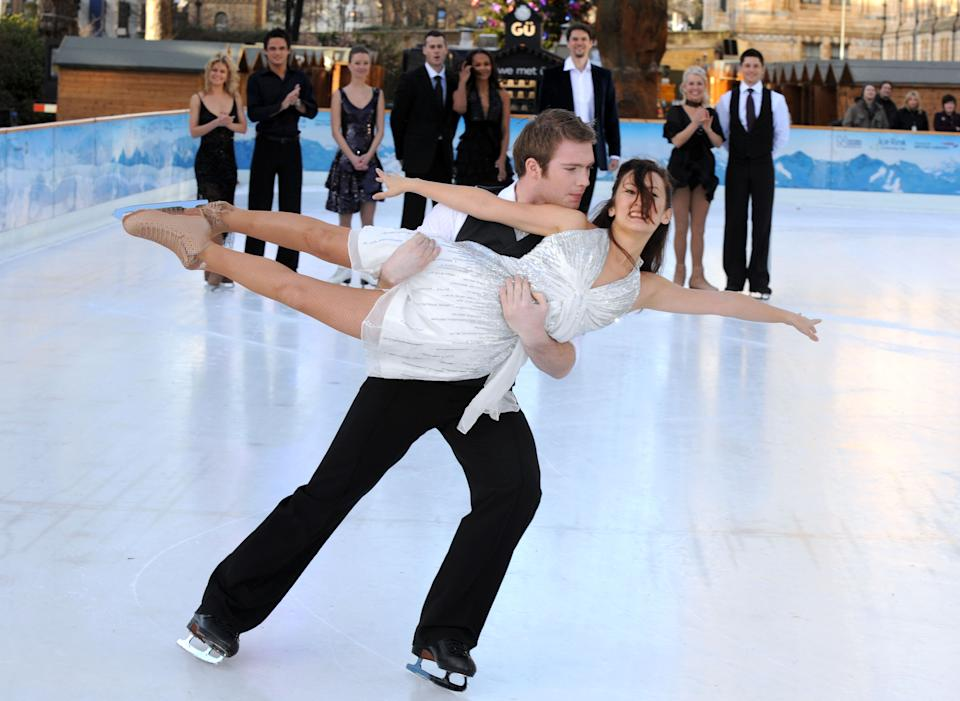 Hollyoaks actor Chris Fountain dances with partner Frankie Poultney, in practice ahead of Dancing On Ice, which airs on ITV, at the Natural History Museum, London.   (Photo by Joel Ryan - PA Images/PA Images via Getty Images)