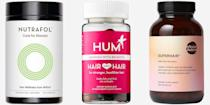 """<p>Hair loss and thinning can have many causes—stress is a big one, for example—but there are vitamins and minerals you can take each morning that can support healthy hair growth. A supplement with keratin, <a href=""""https://www.harpersbazaar.com/beauty/hair/a26069106/biotin-hair-growth-loss/"""" rel=""""nofollow noopener"""" target=""""_blank"""" data-ylk=""""slk:biotin"""" class=""""link rapid-noclick-resp"""">biotin</a>, collagen peptides, hyaluronic acid, all the alphabetic vitamins, or any combination of the above can help your hair grow back longer and stronger in as little as a few weeks. The key to getting the best results? Be consistent with the pills and commit to them daily for at least six months. Ahead, the best pills, powders, and crazy-delicious gummies for healthier and thicker hair. </p>"""