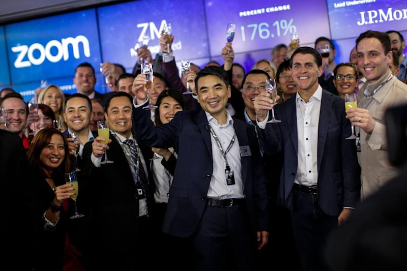 NEW YORK, NY - APRIL 18: Zoom founder Eric Yuan make a toast after the Nasdaq opening bell ceremony on April 18, 2019 in New York City. The video-conferencing software company announced it's IPO priced at $36 per share, at an estimated value of $9.2 billion. (Photo by Kena Betancur/Getty Images)
