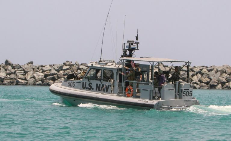 A US Navy patrol boat cruises waters off the Gulf emirate of Fujairah in June 2019 (AFP Photo/-)