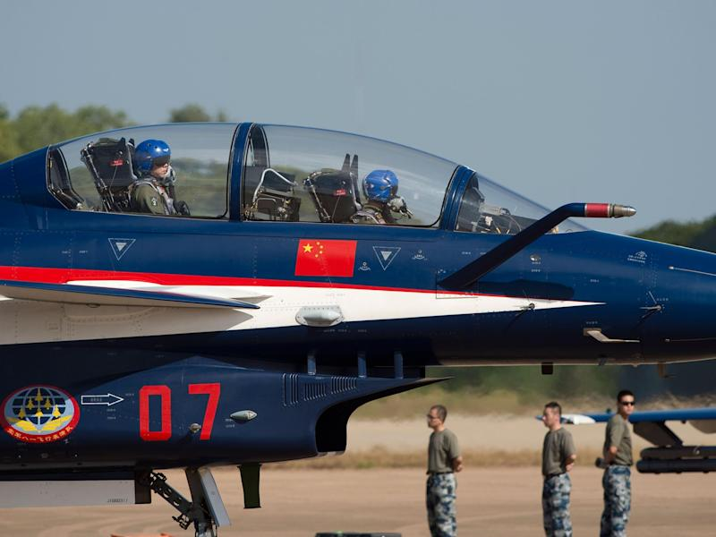 File photo shows a Chinese J-10 aircraft from the People's Liberation Army Air Force preparing to take off: NICOLAS ASFOURI/AFP/Getty Image