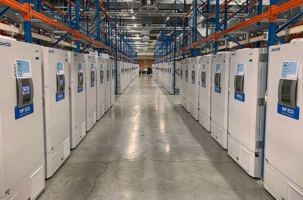 PHOTO: A 'freezer farm,' a football field-sized facility for storing COVID-19 vaccines, in Puurs, Belgium, in Oct. 2020. (Pfizer via AP)