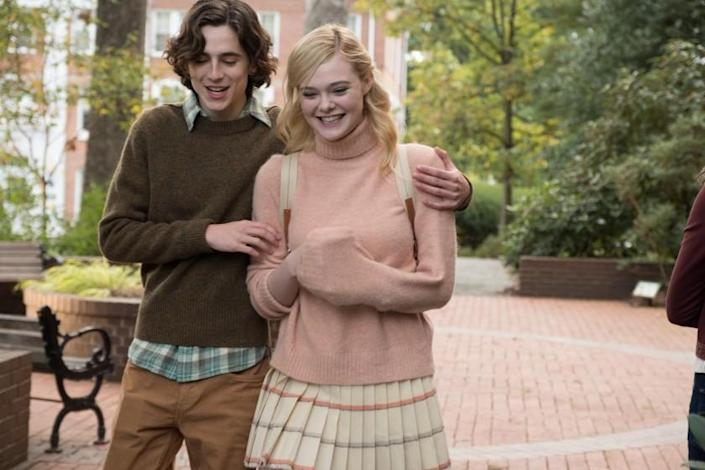 "Timothée Chalamet and Elle Fanning in ""A Rainy Day in New York."" <span class=""copyright"">(Jessica Miglio / Signature Entertainment)</span>"