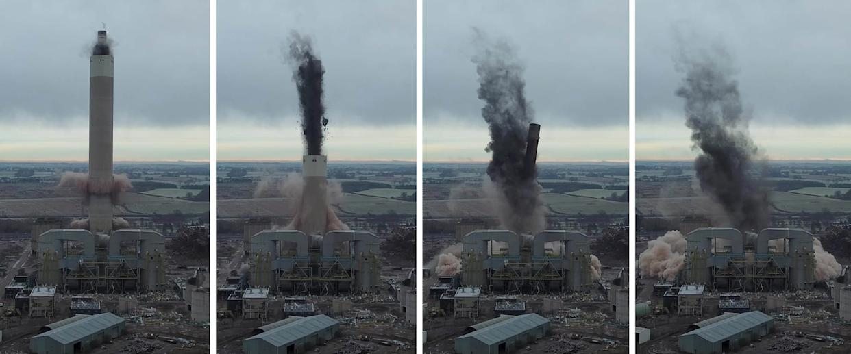 Dramatic footage shows 180ft chimney at Rugeley Power Station being demolished in controlled explosion