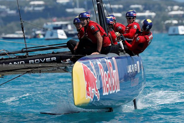 Sailing - Youth America's Cup finals - Hamilton, Bermuda - June 21, 2017 - Land Rover BAR Academy speed to the finish line in the final race on their way to winning the Youth America's Cup. REUTERS/Mike Segar