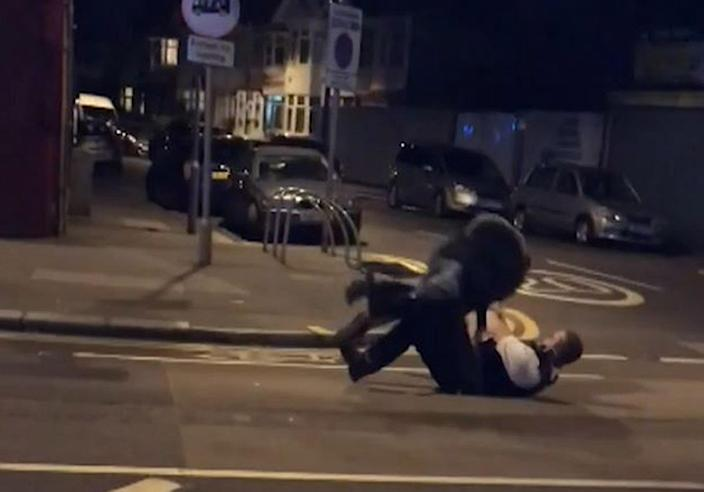 Phone footage shows Rodwan falling after PC Outten Tasered him. (PA Photo)