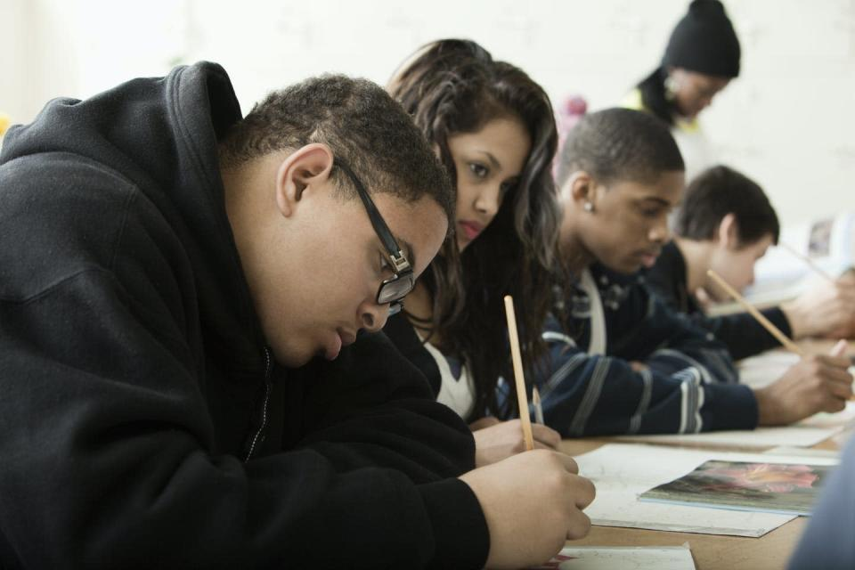 """<span class=""""caption"""">Studies conducted by the author show ways to help youth stay in school.</span> <span class=""""attribution""""><a class=""""link rapid-noclick-resp"""" href=""""https://www.gettyimages.com/detail/photo/students-studying-in-classroom-royalty-free-image/102754963?adppopup=true"""" rel=""""nofollow noopener"""" target=""""_blank"""" data-ylk=""""slk:Getty Images/Hill Street Studios"""">Getty Images/Hill Street Studios</a></span>"""